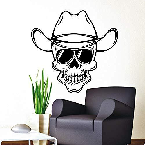 Wandaufkleber Schädel Decals Cowboyhut Kinder Wohnzimmer Schlafzimmer raamdecoratie Aufkleber Kunst Zimmer Wandvinyl 57X60 cm