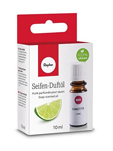 Rayher 34254000 Hobby Seifen Duftöl (100% vegan, in Glasflasche mit Kindersicherheitsverschluss, hautpflegende und wohltuende Wirkung) Limette, 10 ml