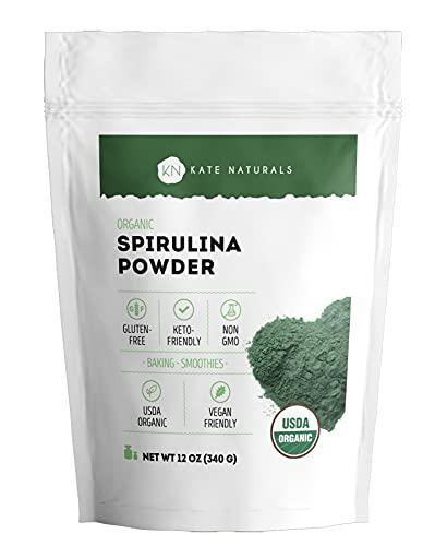 Organic Spirulina Powder (12 oz) for Immune Support and Antioxidants - Kate Naturals. USDA Certified. Natural. Non-GMO. Gluten-Free. Nutrient Dense Superfood Supplement