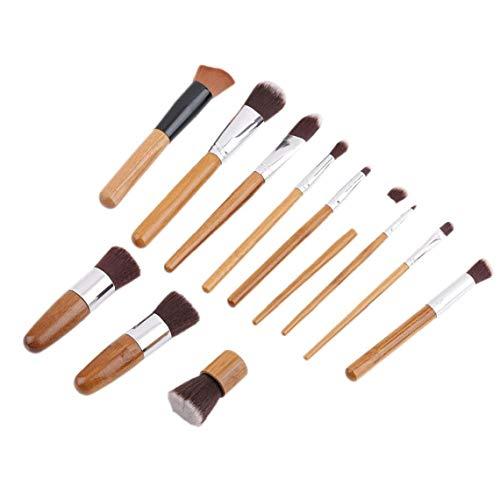 11pcs bambou poignée Fondation Blending Maquillage Pinceaux + plat Pinceau angulaire Fournitures cosmétiques