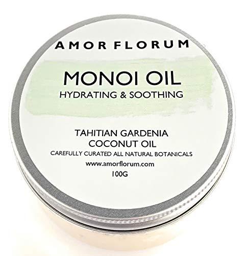 Preisvergleich Produktbild MONOI Öl mit KOKOSÖL & TAHITIAN GARDENIA - 100g - von AMOR FLORUM - BEDINGUNGEN,  FEUCHTIGKEITEN und NÄHREN Haut und Haare. Kein zusätzliches Parfüm.