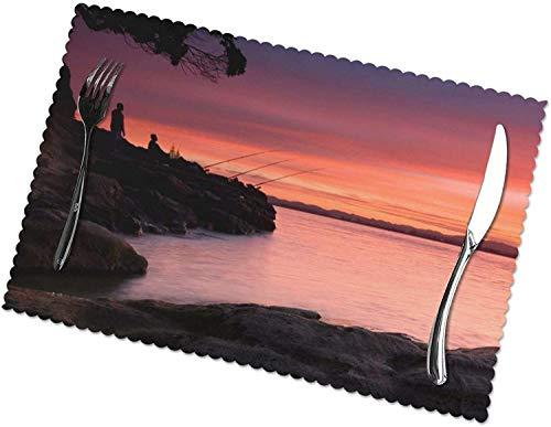 Nature Sunset Landscape Tischsets 4er-Set für 12x18 Zoll Esstisch Hitzebeständige waschbare Tischsets Polyester Dekorative Küchentischmatten und leicht zu reinigen