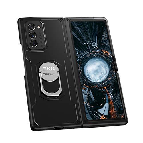 BRAND SET Hülle für Samsung Galaxy Z Fold 2 5G Schutzhülle PC Hard Hülle Stoßfest Handytasche mit Magnetisch Ring Ständer Handyhülle Hüllen für Samsung Galaxy Z Fold 2 5G-Schwarz