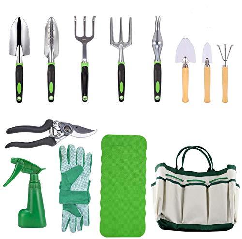 CRENOVA Set di attrezzi da giardino 10 pezzi, attrezzi da giardinaggio, cesoie da potatura, guanti da giardino, borsa da giardino, protezione in ginocchio e spray da giardino.