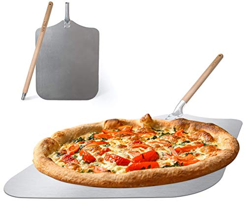 Aluminum Pizza Peel 12x14 with 18 inch wooden detachable handle for easy storage Large and lightweight paddle for home made pizza the shovel can be used for baking bread pizza and cookies By Q's INN.