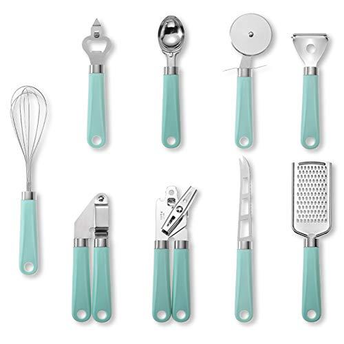 grefen Abrelatas de mano utensilios de cocina de acero inoxidable, 9 piezas, herramienta de corte de ajo, batidor de queso, rallador de pizza, pelador de helado, cuchara de abrelatas para casa