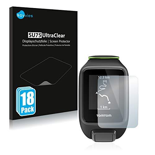 Savvies 18x Schutzfolie kompatibel mit Tomtom Runner 3 Bildschirmschutz-Folie Ultra-transparent