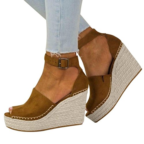 Amiley Women Sandals Summer,Women Fashion Dull Polish Sewing Peep Toe Wedges Hasp Sandals Flatform Shoes (Brown, 9)