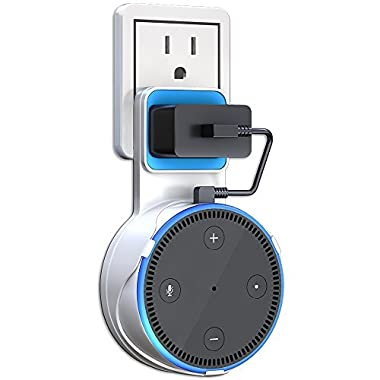 Matone Outlet Wall Mount Hanger Stand for Home Voice Assistants, A Space-Saving Solution for Your Smart Home Speakers without Messy Wires or Screws - White