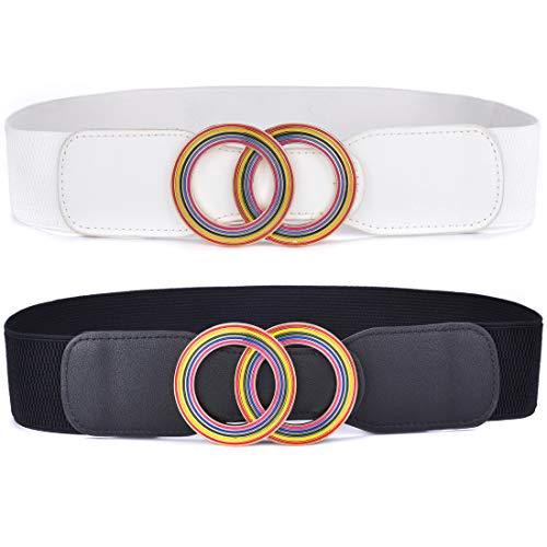 2 Pack Beltox Women's Elastic Stretch Waist Belts w interchangeable 2 Rings Rainbow Buckle (Black and White, 70CM-90CM(27-35 inch waist))