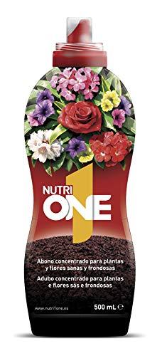 Nutrione Abono líquido Concentrado Plantas y Flores. Fertilizante Premium, Ingredientes Naturales, 500 ml, Negro