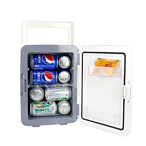 LEIKEI Refrigerador De Coche De 10L, Mini Refrigerador, Enfriador Compacto Portátil, Calentador AC/DC, Enfriador Interior Eléctrico De Una Sola Puerta para Automóvil,White-10L