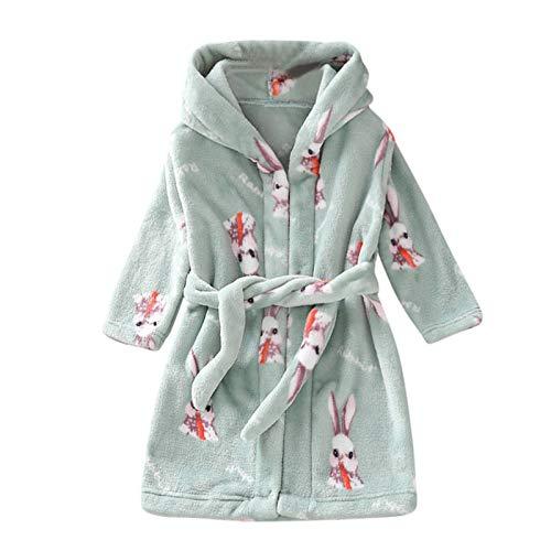 N-B Albornoz de franela con capucha para niños y niñas, de manga larga con cinturón, cálida toalla de noche, ropa de dormir