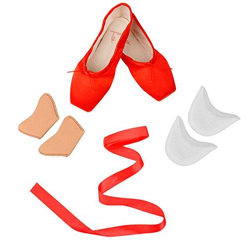 Girl 's rot Punkte Schuhe für Ballett Leder Sohle mit gratis Gel Silikon Zehen Pads und Bänder, Kinder Damen, rot,(Inner Length:9.65 inch)-41 EU