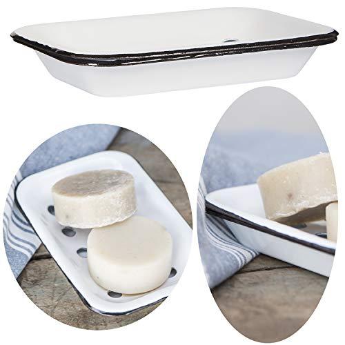 LS-LebenStil Seifenschale Emaille Creme Weiß 15cm Altum Seifenhalter Seifenablage