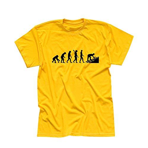 T-Shirt Evolution Dachdecker Tischler Zimmermann 13 Farben Herren XS - 5XL Geschenk Idee Handwerker Schiefer Schindeln Ziegel Solaranlagen, Größe:M, Farbe:gelb - Logo schwarz