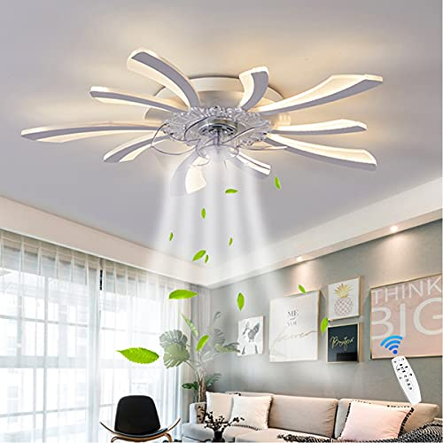 Entilateur De LED Plafond Avec Lumière Ventilateur Télécommande 3 Couleurs Dimmables Silencieux Fan Plafonnier Chambre Enfant Moderne Salon Pétale Ventilateur De Plafond Plafonnier 78CM