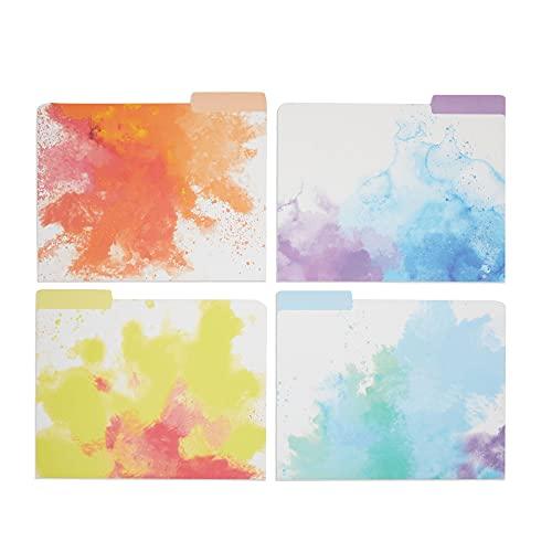 Rainbow Decorative File Folders, 1/3 Cut Tab, Letter Size, Watercolor (12 Pack)