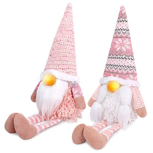 D-FantiX Pink Christmas Gnomes Decorations, 2Pack Handmade Swedish Tomte Gnome with LED Lighting Nose Crochet Hat Scandinavian Figurine Gnomes Plush Elf Xmas Decor Thanksgiving Long Leg