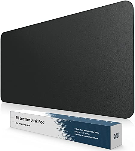 Ktrio Desk Pad XXX-Large Desk Mat Protector, 35.4 x 17 inches PU Leather Desk Blotter Pad, Mouse Pad Waterproof Full Desk Cover Mats, Ultra-Thin Writing Mat Desk Pads for Laptop Office & Home, Black