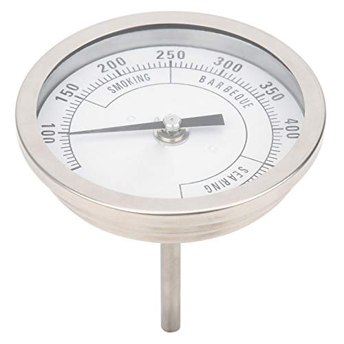 Dial Thermometer, 3in Adjustable NPT Thread 1/2in Pointer Thermometer for Barbecue Grill Oven 50-550℉