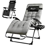 Coco Cape Zero Gravity Chair – Premium Chair with Cushion, Headrest and Cup Holder – Foldable and Easy to Carry – Heavy Duty – Ideal Outdoor Recliner, Beach Chair, Garden – Gray Regular