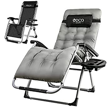 Coco Cape Zero Gravity Chair – Premium Chair with Cushion Headrest and Cup Holder – Foldable and Easy to Carry – Heavy Duty – Ideal Outdoor Recliner Beach Chair Garden – Gray Regular