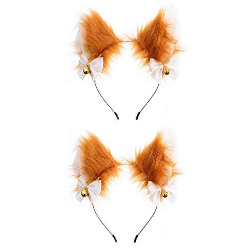 PIXNOR 2 Peças Hairband Headband Da Orelha de Gato Com Sinos de Pelúcia Raposa Peludo Gato Ouvido Capacete para O Traje Cosplay Partido Fancy Dress (Marrom E Branco)