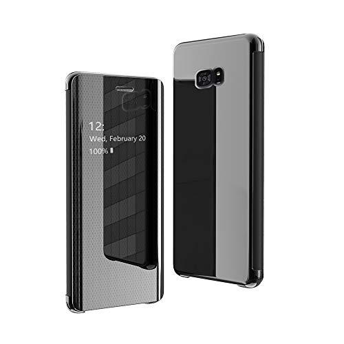 Hauw Funda Samsung Galaxy S7 Edge,Clear View Standing Cover para Samsung Galaxy S7 Edge,Negro