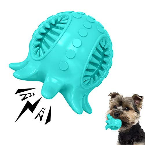 Dog Toy Ball Tooth Cleaning Octopus Shape Jolly Ball for Dogs Chew Squeaky Toys Treat Food Dispensing Ball for Small/Medium Dogs Puzzle Interactive Toy Ball for Puppy (Blue)