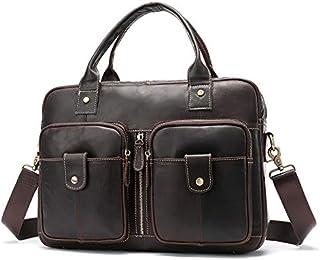 YXHM AU Men's Genuine Leather Bag Horizontal Style One-Shoulder Handbag Male Vintage Motorcycle Briefcase (Color : Coffee)