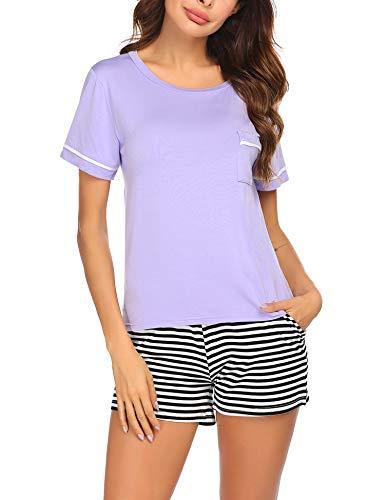 Ekouaer Womens Pajamas Short Sleeve Sleepwear Soft PJ Set with Stripe Shorts,Lavender L