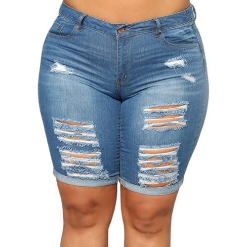 Pantalones Cortos para Mujer Verano Simple Todo-fósforo Casual Tallas Grandes Pantalones Cortos de Mezclilla Moda Pantalones Cortos Rasgados con Personalidad 5XL