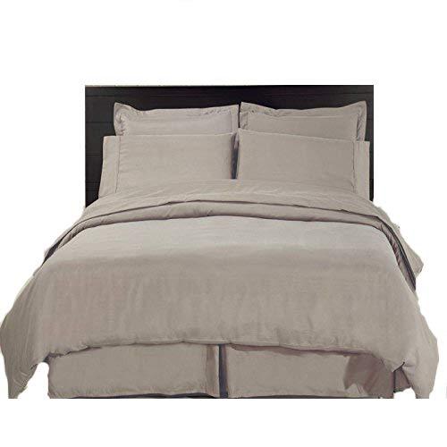 A&R 100% Egyptian Cotton 200 Thread Count Duvet Quilt Cover +P.Case Bed Set (Double, Stone)