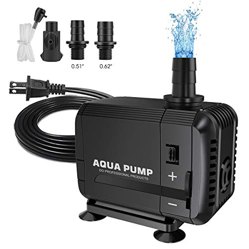 UPMCT 60-400 GPH Adjustable Submersible Water Pump, Ultra Quiet High Lift Detachable Cleanable Water Pump with 2 Nozzles for Aquarium, Pond, Statuary, Hydroponics (200-400 GPH)