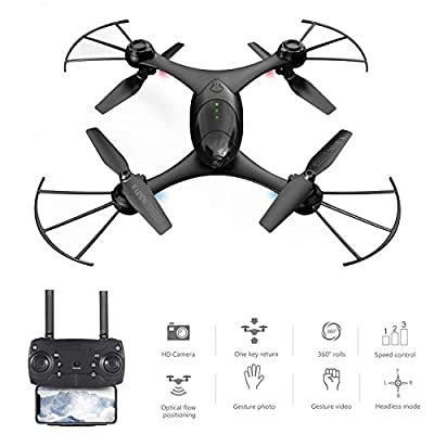 Hotbird Selfie Drone With Camera for Adults 720P HD Dual Camera Optical Flow Positioning Altitude Hold 2.4G Wifi FPV RC Quadcopter Gravity Sensor 3D Flips Rolls 6-Axis Gyro RTF RC Drones