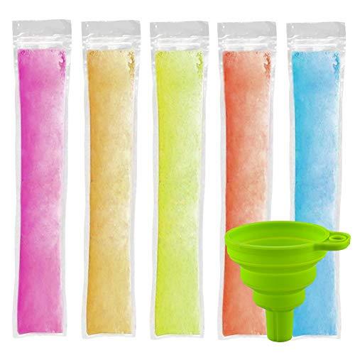 CLTPY アイスアイスキャンディーポーチ 150個 アイスアイスキャンディー型 じょうごとジップシール付き 使い捨てアイスキャンディーポーチ ヘルシースナック/ヨーグルトスティック/ジュース&フルーツスムージー用 (8.66インチ×2.37インチ)