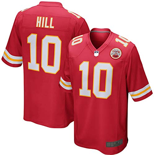 Rot – Tyreek Outdoor Hill Rugby Kansas Jersey City Game Chiefs Player Jersey #10 Wiederholbare Reinigung Casual T-Shirts für Herren Gr. S, rot