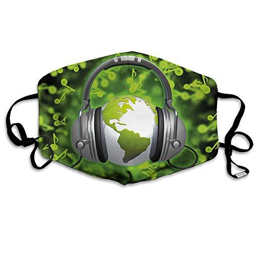 MundschutzWiederverwendbarerMundschutzimFreien,World of Music Themed Composition DJ Headphones Musical Notes and Earth Globe,NahtloseRänderAußenabdeckungen Gesichtsbedeckung
