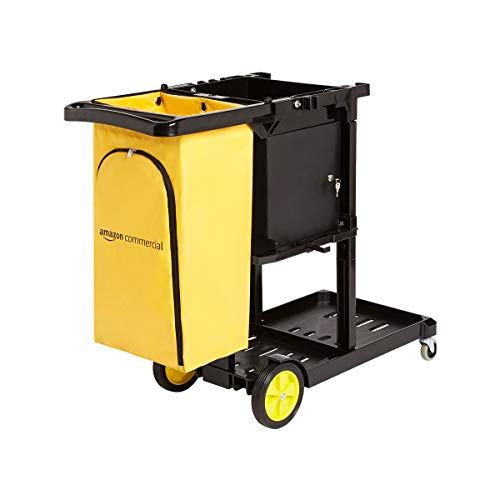 AmazonCommercial Janitorial Cart with Key-Locking Cabinet, Black