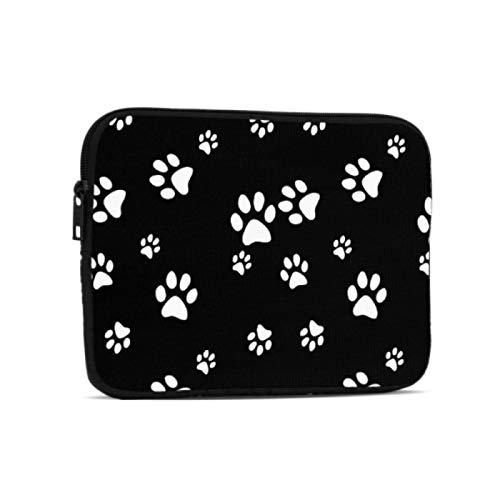 Fundas para portátil Animal Dog Puppy Paw Print Bolsa Negra con Cremallera Compatible con iPad 7,9/9,7 Pulgadas Bolsa Protectora de Neopreno a Prueba de Golpes con Cremallera y asa con co