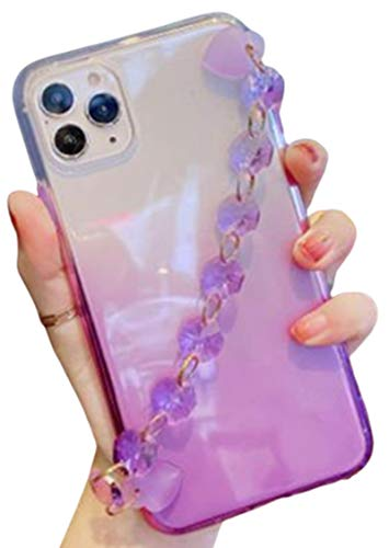 Aulzaju Compatible iPhone 12 Pro Max Cute Case for Girls with Bracelet Strap iPhone 12 Pro Max Luxury Bling Gradient TPU Case iPhone 12 Pro Max Pretty Fashion Cover for Women 6.7 Inch -Purple