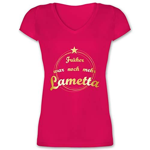 Weihnachten & Silvester - Früher war noch mehr Lametta - L - Fuchsia - Weihnachten - XO1525 - Damen T-Shirt mit V-Ausschnitt