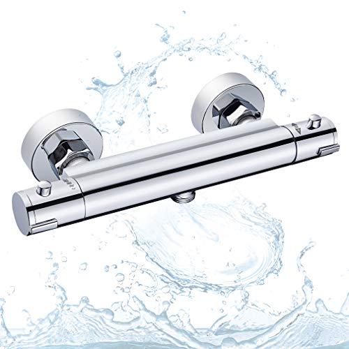BONADE Duschthermostat Duscharmatur Sicherheitssperre bei 38°C Thermostatarmatur Thermostat-Brausebatterie Brausethermostat aus Messing Thermostatbatterie Mischbatterie Aufputz für Bad