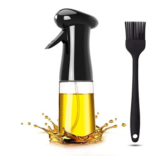 Pukitt Pulverizador Aceite Cocina 200ML Spray Aceite Dispensador Aceite con Cepillo Spray Oliva Aceite para Cocinar, Barbacoa,Ensalada, Asar, Hornear,Pan,BBQ