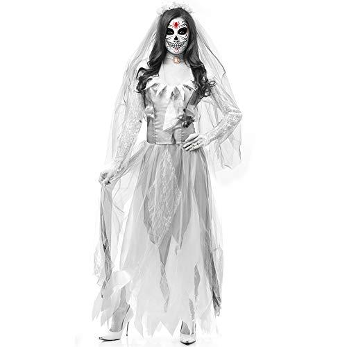 TBDLG Frauen-Halloween-Kostüm Till Death Do Us Part Zombie-Braut-Rock, Schleier, Krawatten, Zombie Alley,Weiß,XL