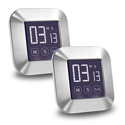 E-More Küchenuhr Timer, 2er Pack Touchscreen Digitaler Küchentimer, Kurzzeitmesser Küche Magnetischer Elektronischer Zeitschaltuhr und Stoppuhr Schallendem Alarm mit LCD Display