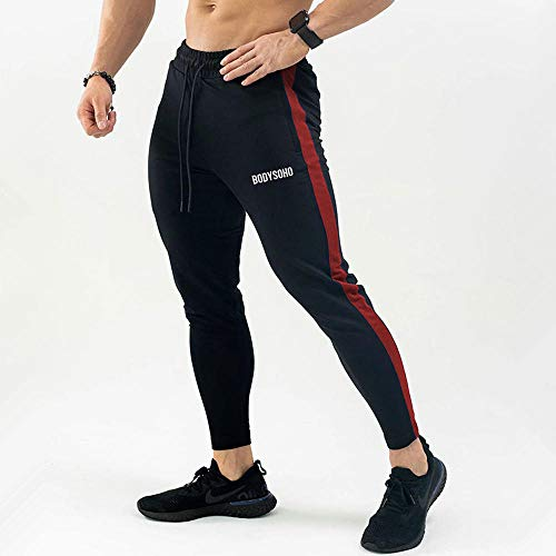 Shuangklei Black Running Sweatpants Joggers Track Pants Men Casual Skinny Cotton Pants Gym Fitness Sport Training Trousers Male Sportswear-XL_Black_Red