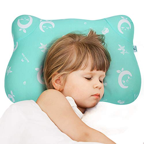 roll pillow for kids RESTCLOUD Kids Memory Foam Pillow, Memory Foam Toddler Pillow with Pillowcase for Children 14 x 22 Inches
