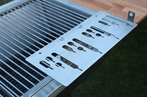 Kirschner Metallbau Spießhalter Steckerlfisch Grillaufsatz Fisch Halter Fischgrill VA Holzkohlegrill Gasgrill (Set 1 Montage an Grillrosten)